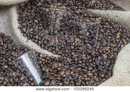 glass in coffee beans