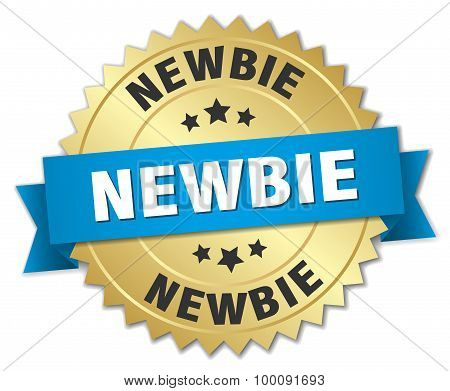Newbie 3D Gold Badge With Blue Ribbon