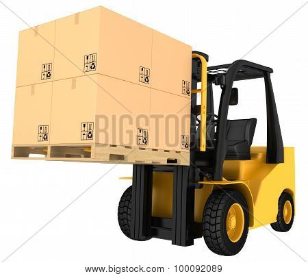 Forklift truck with boxes on pallet