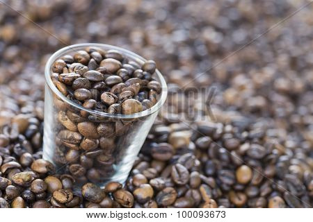 glass of coffee beans