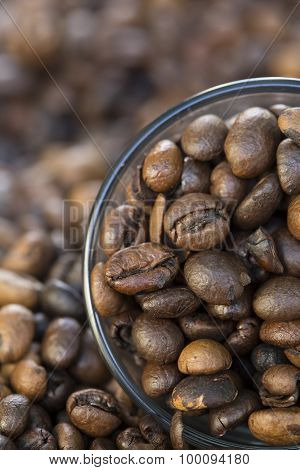 glass full of coffee beans