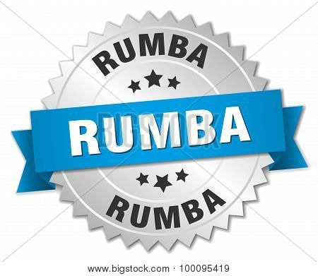 Rumba 3D Silver Badge With Blue Ribbon