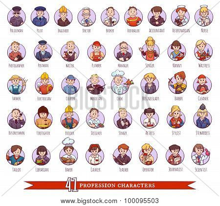 Vector set of business people, such as policeman, doctor, worker and other