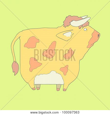 Flat hand drawn icon of a cute cow