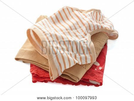 Stack Of Female Underwear On The White ,clipping Path.