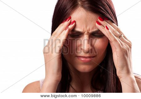 Close up of a woman with strong migraine
