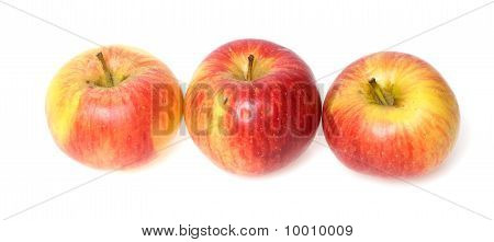 three apples in line isolated on white background