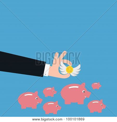 Vector Of Business Man Saving Money In Piggy Bank. Concept Of Profit Etc.