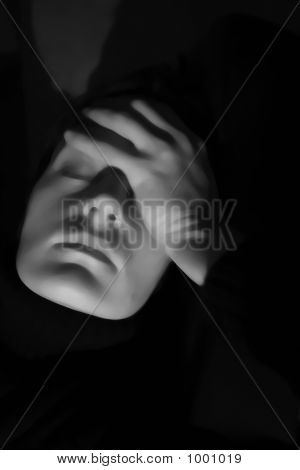 Isolated Woman Looking Stressed