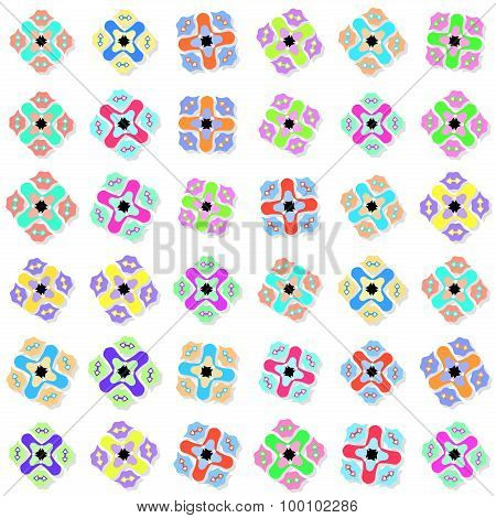 Seamless Pattern With Colorful Ornaments On White