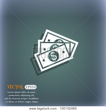U.s Dollar Icon Symbol On The Blue-green Abstract Background With Shadow And Space For Your Text. Ve