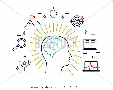 Linear Concept Of Human Mind Process, Human Brain Thinking And Opportunities. Modern Vector Pictogra