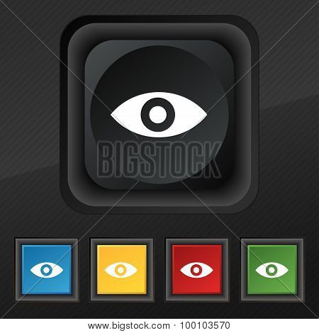 Eye, Publish Content, Sixth Sense, Intuition  Icon Symbol. Set Of Five Colorful, Stylish Buttons On