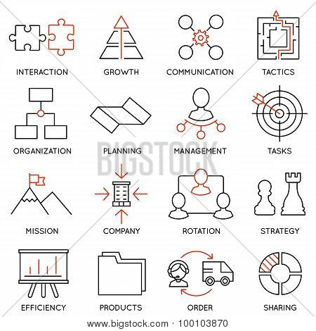 Vector Set Of 16 Icons Related To Business Management - part 1