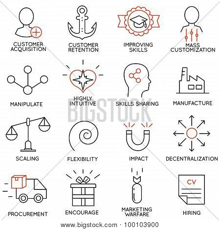 Vector Set Of 16 Icons Related To Business Management - part 7