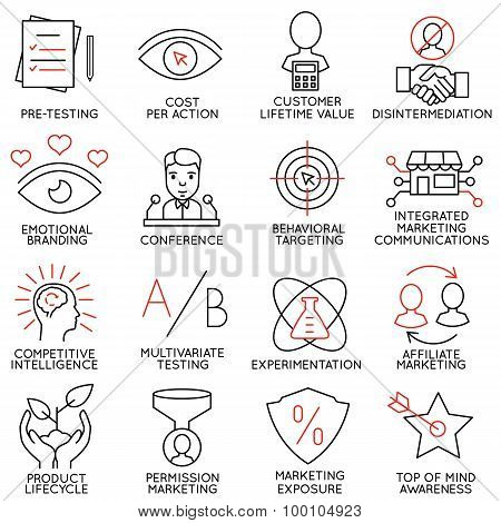 Vector Set Of 16 Icons Related To Business Management - part 9