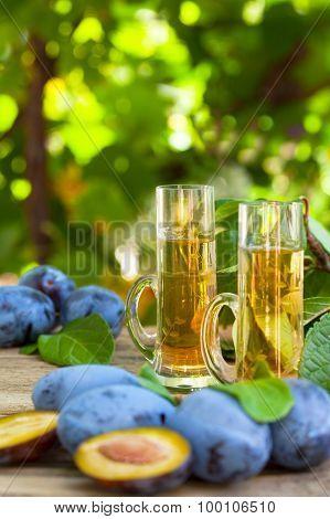 Plum brandy or schnapps