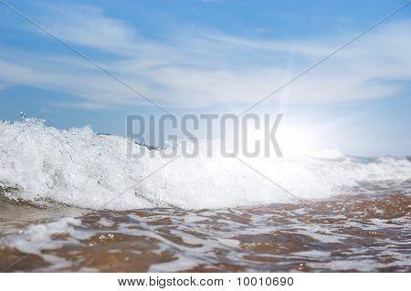 White Foam On Wave Crest.