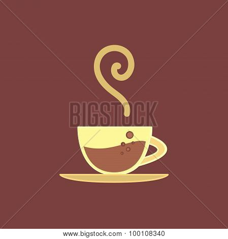 Vector Poster, Banner With Hot Coffee Cup