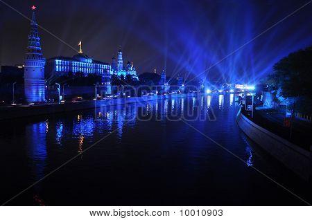 Kremlin Embankment at night.