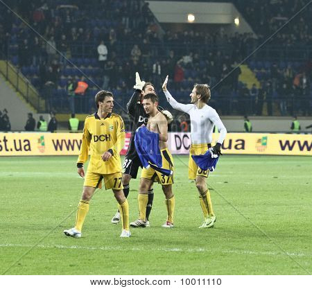 Metalist Kharkiv Players Celebrating Victory