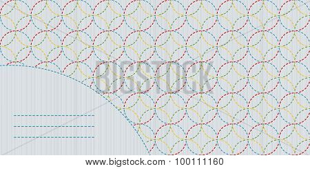 Decorative sashiko frame with copy space for text.