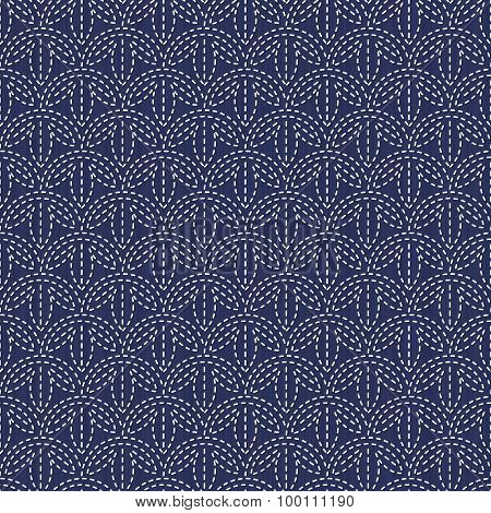 Antique japanese fancywork. Sashiko. Seamless pattern.