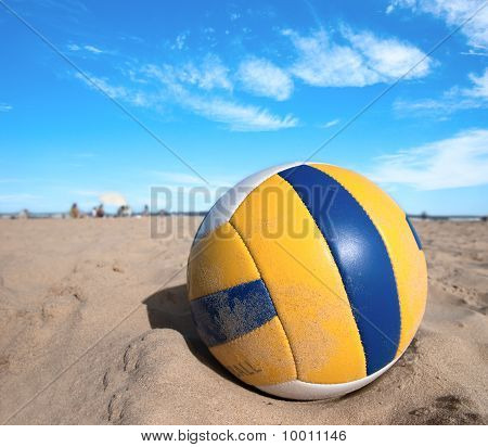 Volleyball On Warm Sand