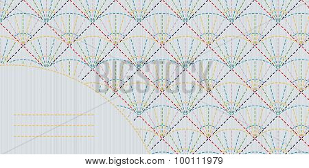 Geometric sashiko template with copy space for text.