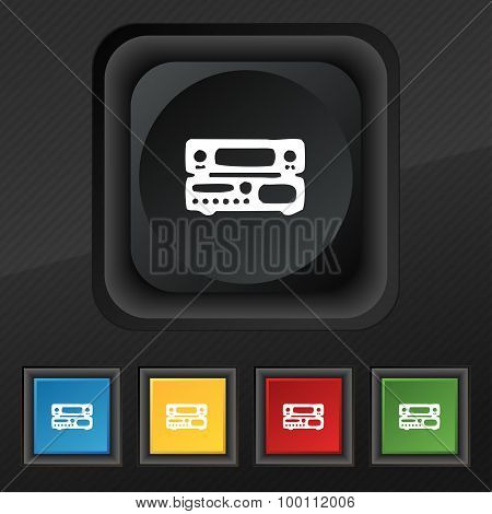 Radio, Receiver, Amplifier Icon Symbol. Set Of Five Colorful, Stylish Buttons On Black Texture For Y