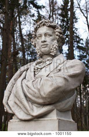 Sculpture Of Pushkin In Park Arkhangelskoe