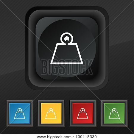 Weight Icon Symbol. Set Of Five Colorful, Stylish Buttons On Black Texture For Your Design. Vector