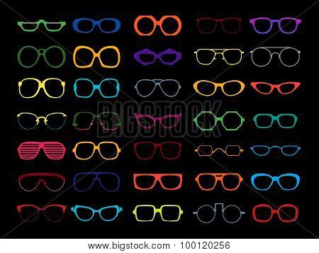 Vector set of colored glasses. Retro, geek, hipster frames.