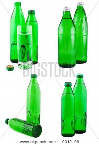 Water In Bottles, Isolated White, Set. Clipping Path.