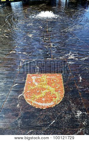 Coat Of Arms Of Finland, Represented In The Hanseatic Fountain In Veliky Novgorod, Russia