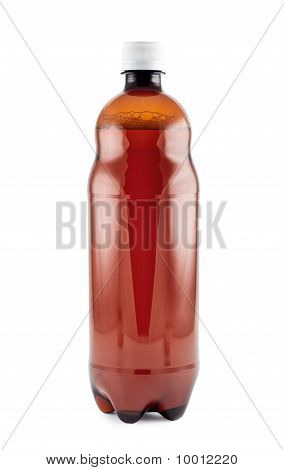 Beer, Plastic Bottle, Isolated White Background.