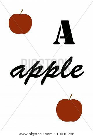 Apple Illustration With The Letter A