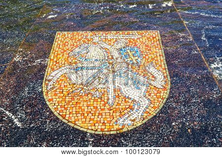 Coat Of Arms Of Lithuania, Represented In The Hanseatic Fountain In Veliky Novgorod, Russia