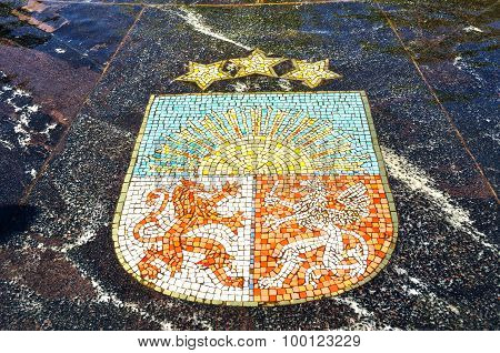 Coat Of Arms Of Latvia, Represented In The Hanseatic Fountain In Veliky Novgorod, Russia