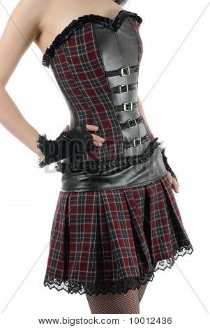 Skinny Female Torso In Corset With Belts | Isolated