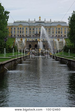 Royal Palace And Fountains In Peterhof