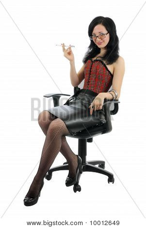 Smirking Woman In Chair | Isolated