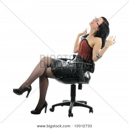 Happy Secretary In Sexy Clothes | Isolated
