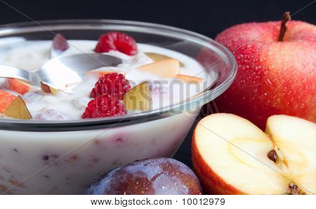 Yogurt Mixed With Fruit Pieces