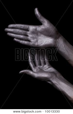 Beautiful Men Hands With Long Fingers In Silver Paint