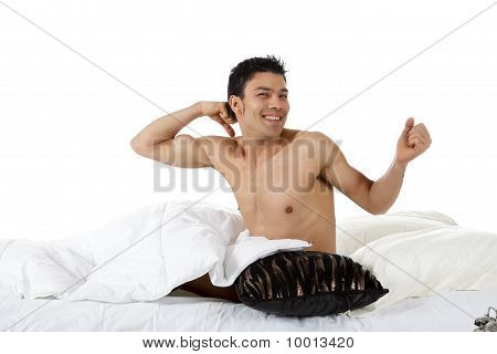 Young Nepalese Man Waking Up