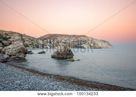 Sunset Over Sea Bay On Cyprus
