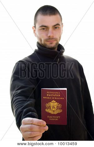 Young Man Holding Passport