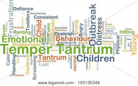 Background concept wordcloud illustration of temper tantrum