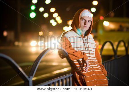 Teenage Gang Member At Night